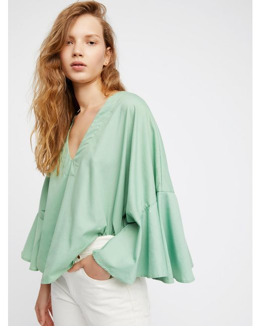 Free People   Green Lydia Top   Lyst