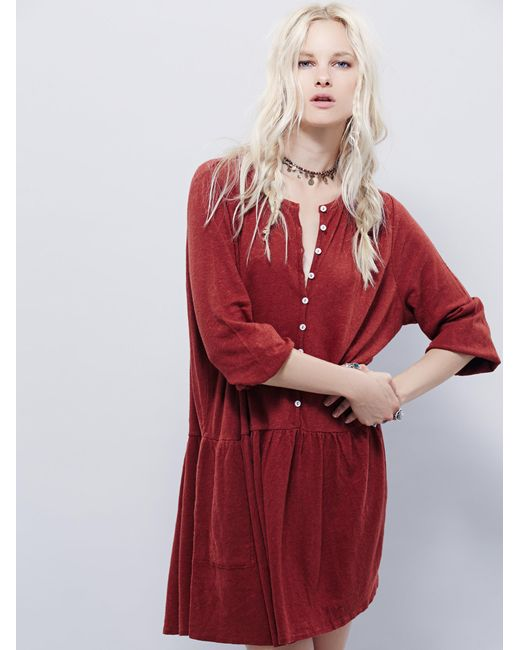 Free People | Brown Button Up Dress | Lyst