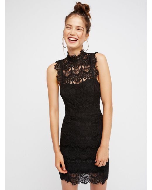 Free People | Black She's Got It Lace Slip Dress | Lyst