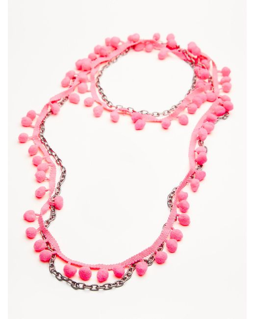 Free People | Pink Summer Dreaming Pom Necklace | Lyst