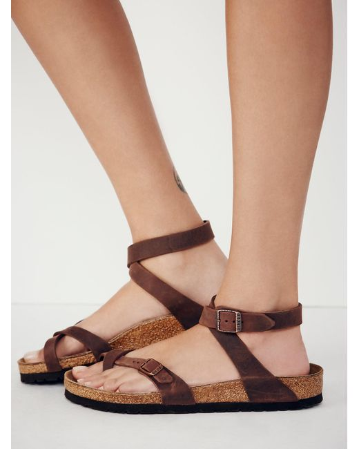 Free People - Brown Yara Leather Sandals - Lyst