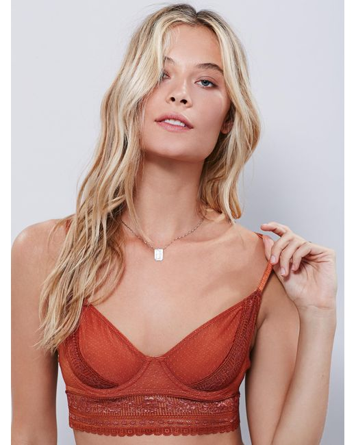 Free People - Orange Get Off My Cloud Underwire Bra Get Off My Cloud Undie - Lyst