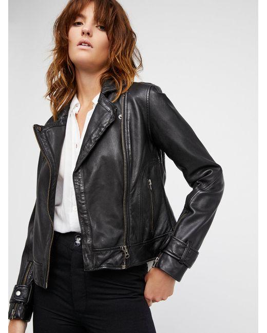 Free People - Black Washed Leather Moto Jacket - Lyst