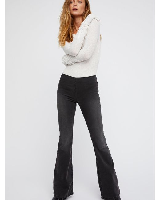 Free People - Black Penny Pull-on Flare Jeans - Lyst