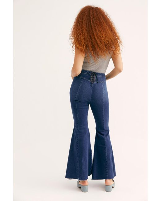 6eeffe4cf4cfbf Free People - Blue Crvy Super High-rise Lace-up Flare Jeans - Lyst ...