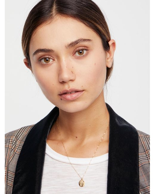 Free People - Metallic Engraved Medallion Necklace - Lyst