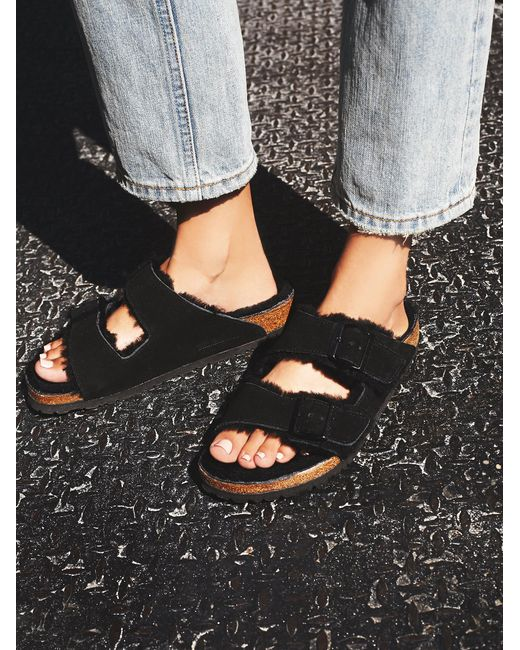 Free People | Black Arizona Shearling Birkens | Lyst