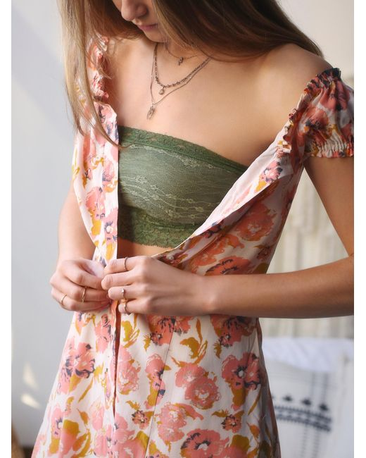 Free People | Green Lace Trim Bandeau | Lyst