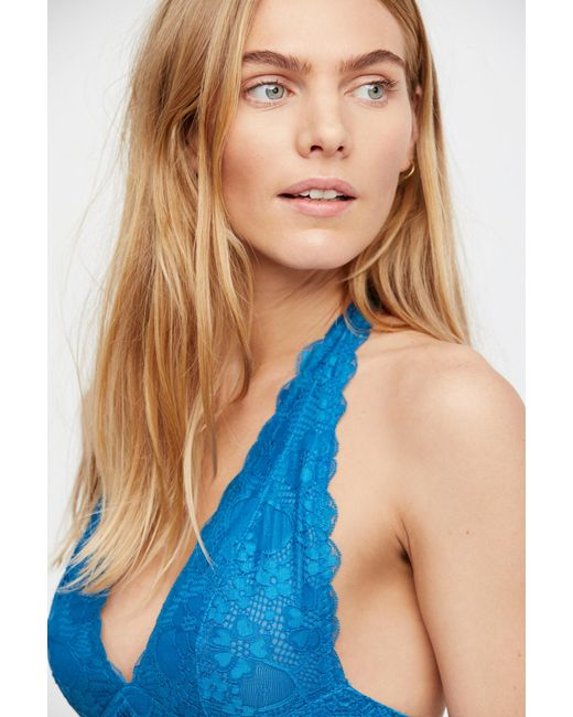 190c6e53f01d5 ... Free People - Blue Galloon Lace Halter Bra By Intimately - Lyst