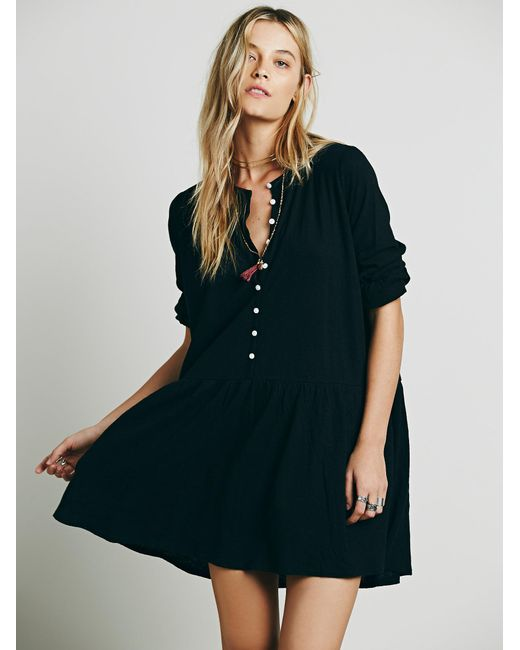 Free People   Black Button Up Dress   Lyst