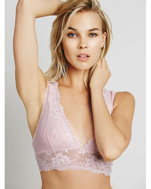 Free People | Pink Galloon Lace Deep V Bra | Lyst