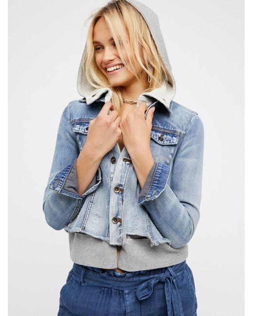 Free People | Blue Double Weave Denim Jacket | Lyst