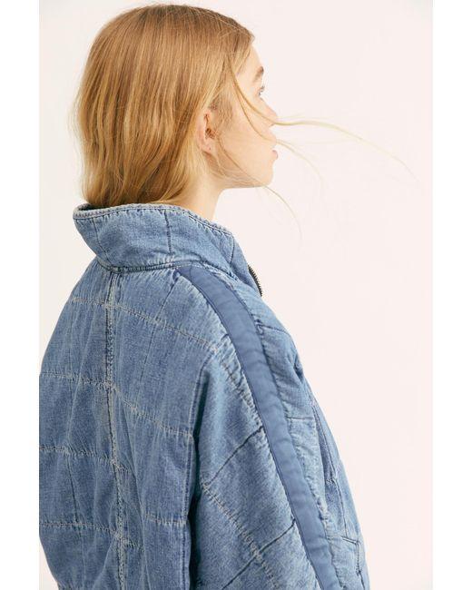 Free People - Blue Dolman Quilted Denim Jacket - Lyst