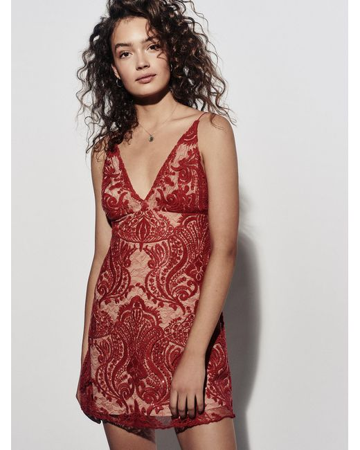Free People | Red Night Shimmers Mini Dress | Lyst