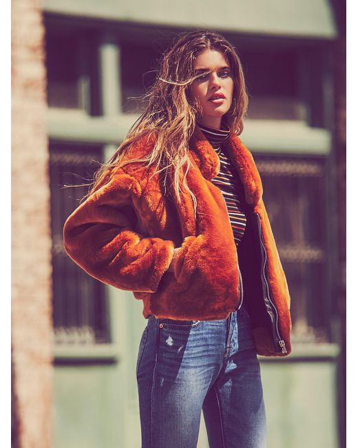 Free People | Multicolor Furry Bomber | Lyst