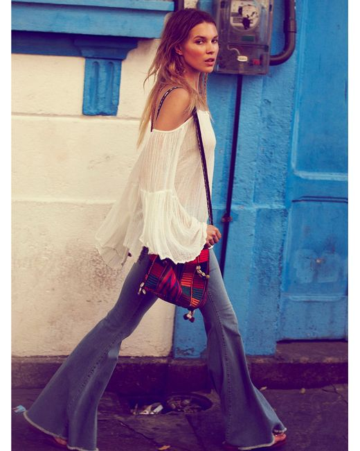 Free People | Blue Denim Super Flare | Lyst