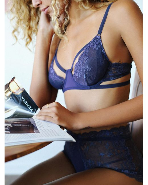 Free People | Blue Dream Of Me Underwire Bra Dream Of Me High Waisted Undie Dream Of Me Thong | Lyst