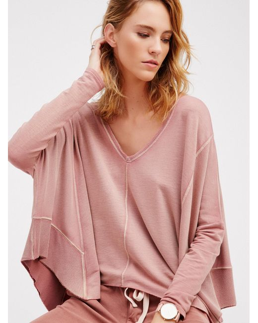 Free People | Pink Drippy Extreme Pullover | Lyst