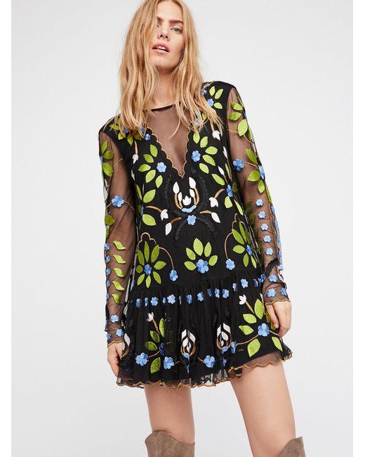Free People | Black Hearts Are Wild Mini Dress | Lyst