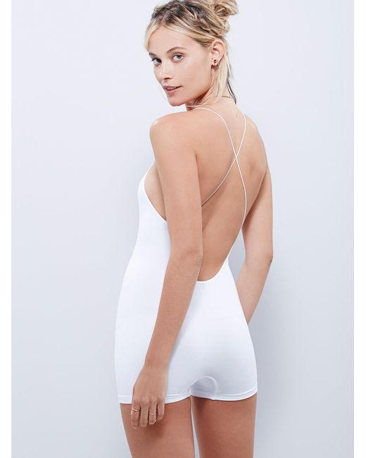 Free People | White Low Back Seamless Playsuit | Lyst