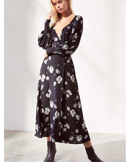 Free People   Black So Sweetly Midi Dress   Lyst