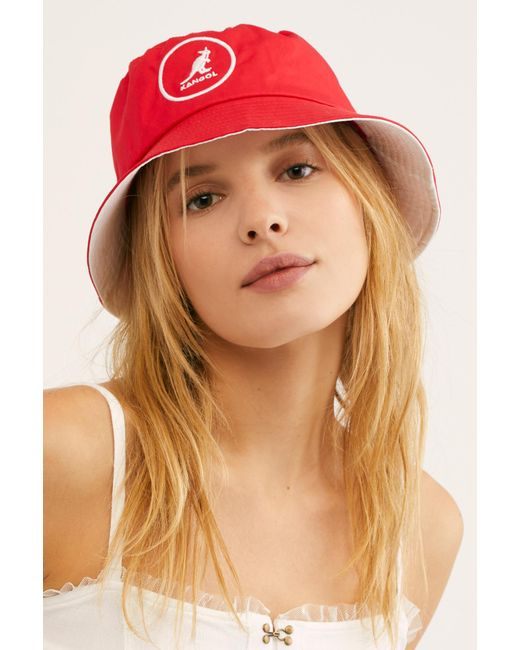 Free People - Red Kangol Cotton Bucket Hat - Lyst