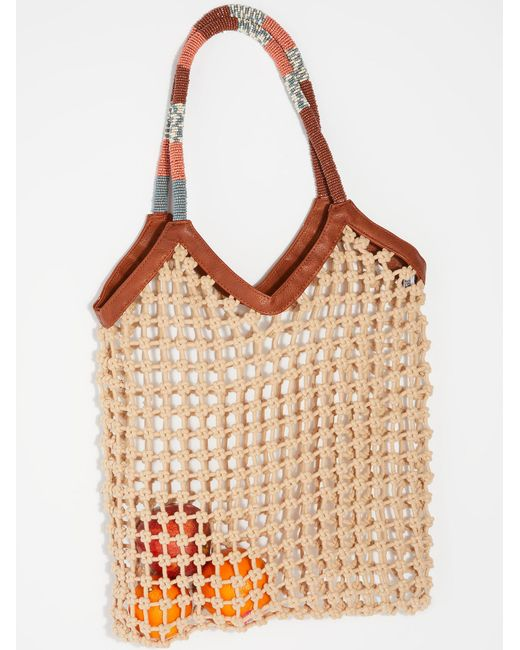 Free People - Natural Beaded Net Bag - Lyst