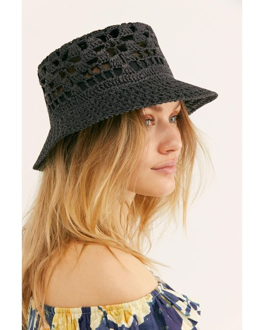 Free People - Black Quinn Crochet Straw Bucket Hat - Lyst