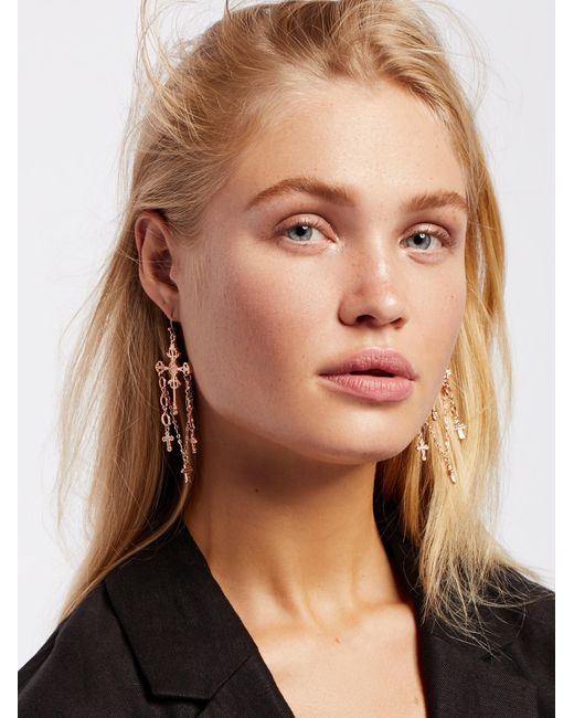 Free People | Metallic Charmed Cross Earrings | Lyst