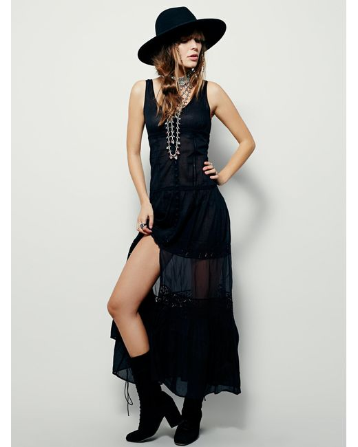 Free People | Black Victoria Buttonfront Maxi | Lyst
