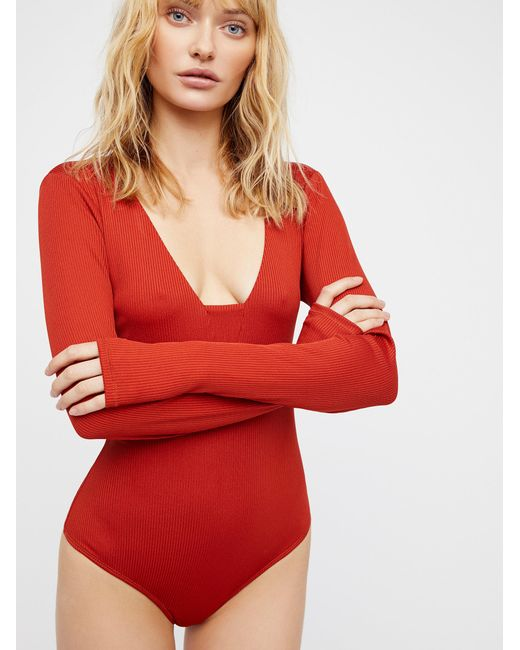 Free People - Red Clothes Bodysuits Feelin' Fine Bodysuit - Lyst