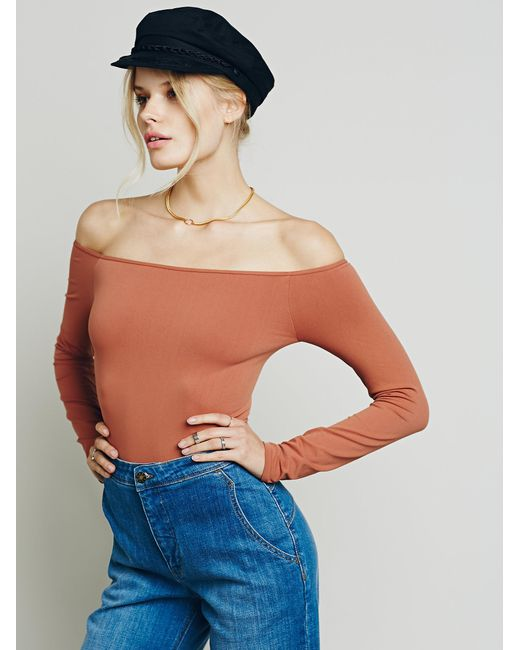 Free People | Brown Off The Shoulder Solid Top | Lyst
