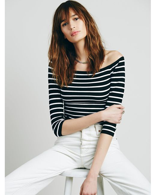 Free People | Black Off The Shoulder Striped Seamless Top | Lyst