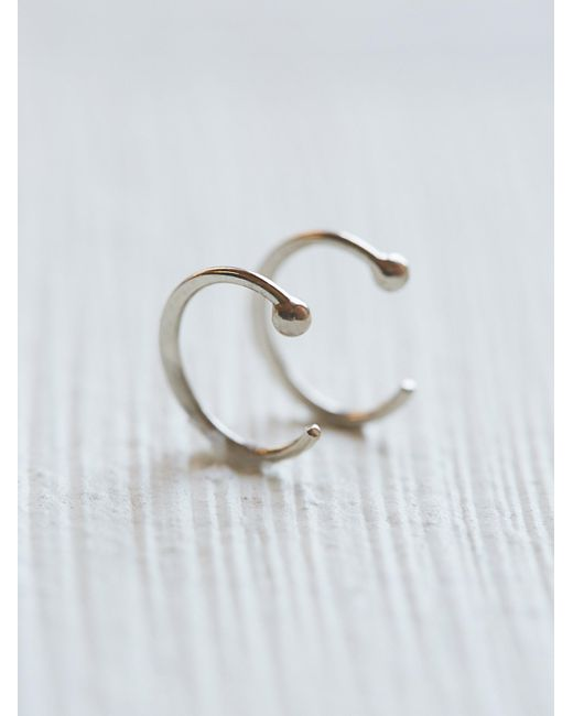 Free People | White Small Ear Hugging Hoops | Lyst