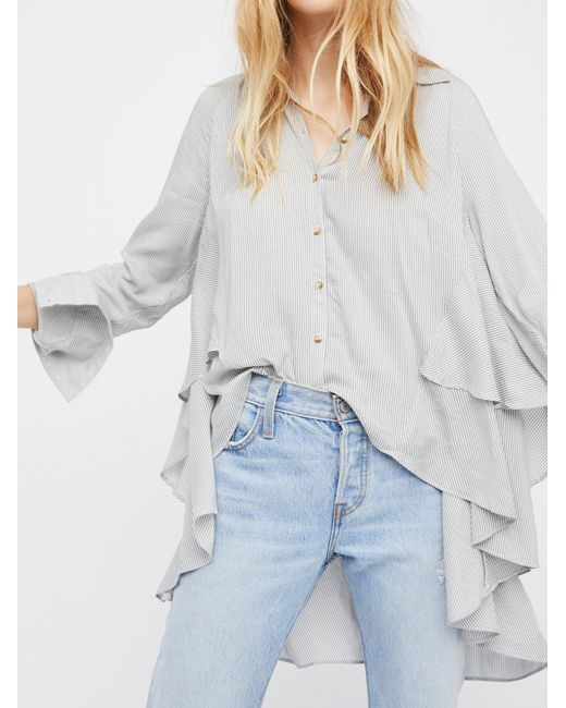 Free People   Gray Stripes On My Mind Top   Lyst