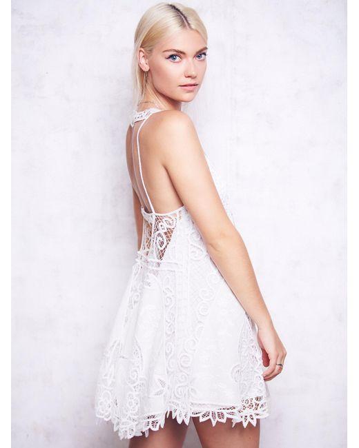 Free People | White Victoria Mini Dress | Lyst