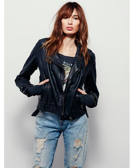 Free People | Black Washed Leather Moto Jacket | Lyst