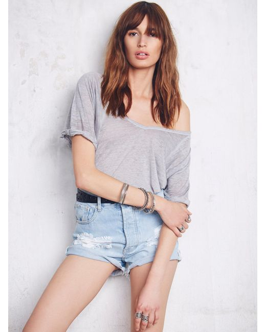 Free People | Gray We The Free Free Fallin Tee | Lyst