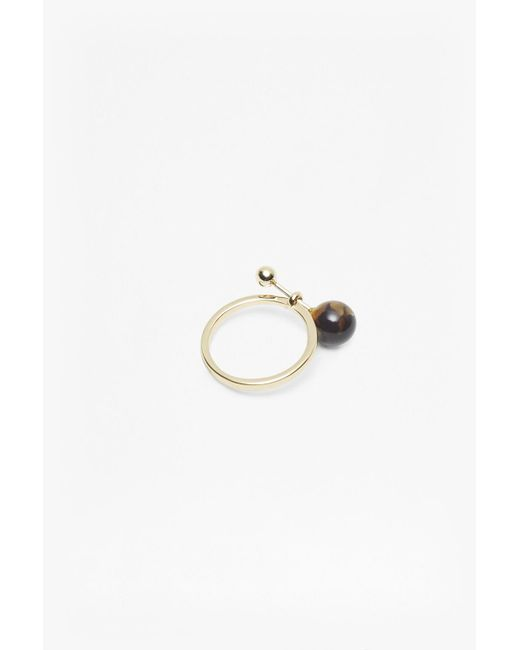 French Connection | Metallic Pendulum Ball Ring | Lyst