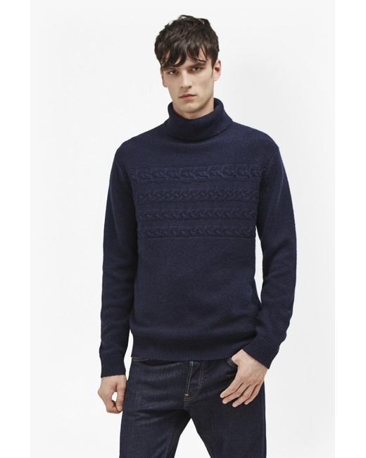 French Connection | Blue Cable Stripe Knits Jumper for Men | Lyst