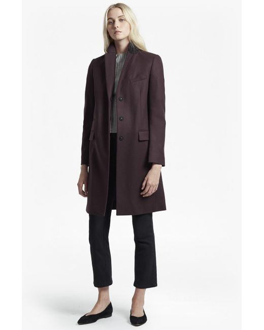 French Connection - Blue Platform Smart Fit Felt Coat - Lyst