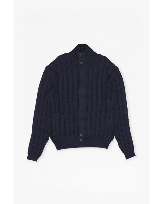 French Connection   Blue Cable Guy Cardigan for Men   Lyst