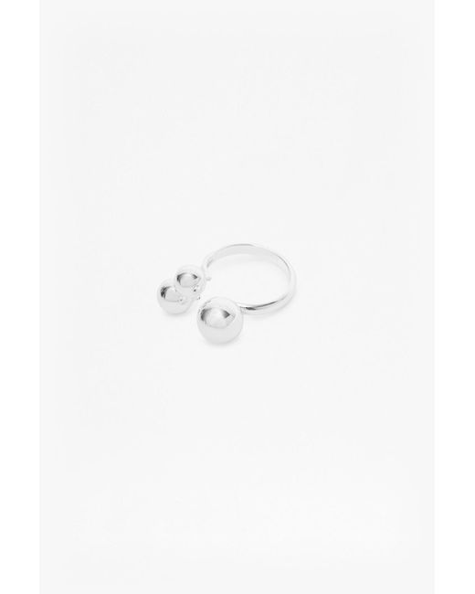 French Connection | Metallic Pendulum Trio Sphere Ring | Lyst