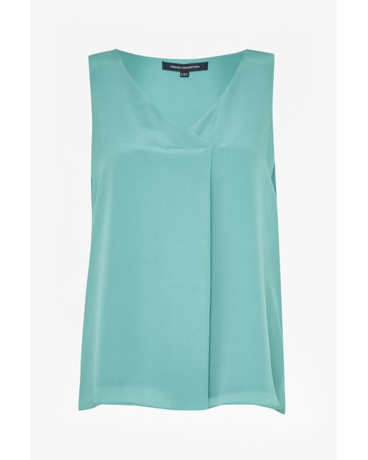 French Connection | Blue Sunshine Silk V Neck Top | Lyst