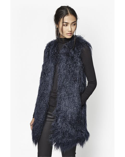 French Connection | Black Chicago Long Faux Fur Gilet | Lyst