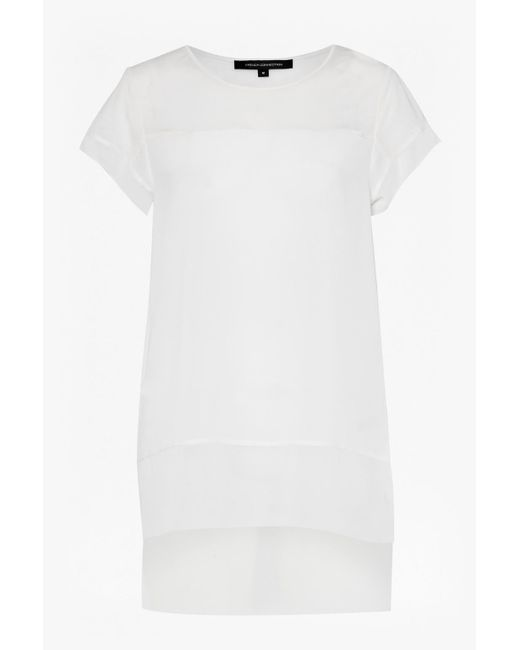 French Connection - White Polly Plains Chiffon Trim T-shirt - Lyst