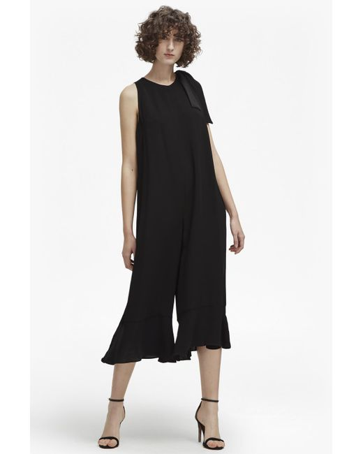 French Connection - Black Hiva Crepe Flared Jumpsuit - Lyst
