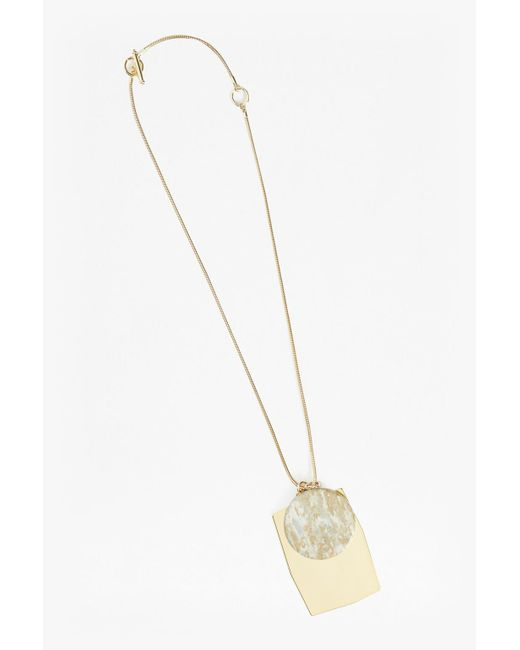 French Connection | Metallic Grecian Circle Rectangle Pendant Necklace | Lyst