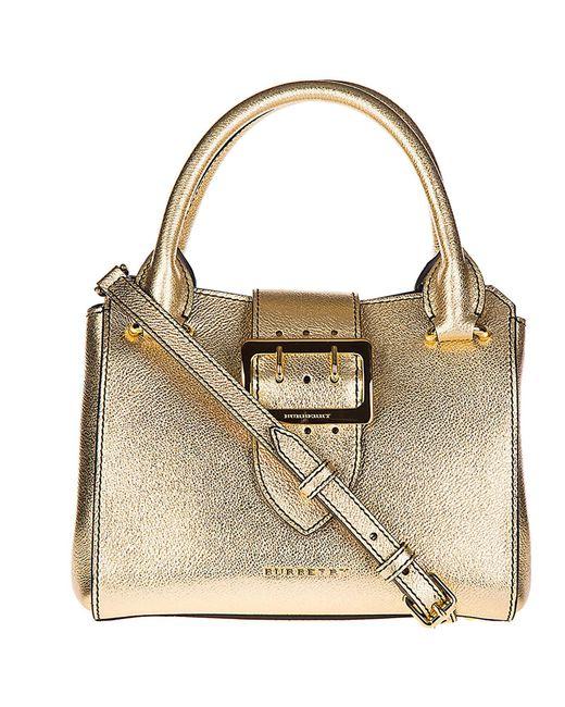 Burberry - Metallic Leather Handbag Shopping Bag Purse Buckle - Lyst