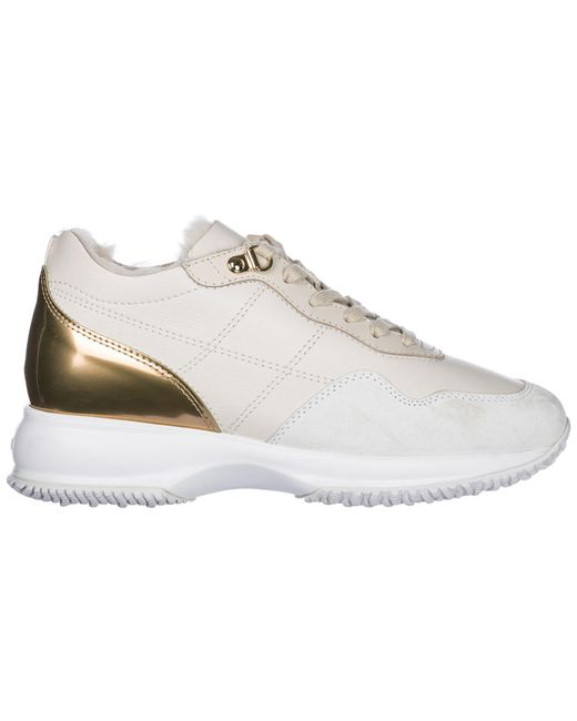 Hogan - White Shoes Leather Trainers Sneakers Interactive - Lyst